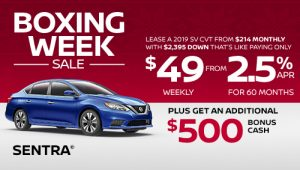 nissan sentra specials boxing week sales banner december