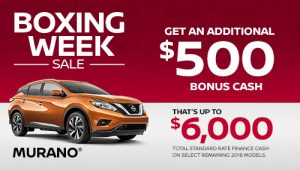 nissan murano specials boxing week sales banner december