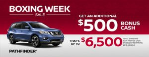 nissan pathfinder specials boxing week sales banner december