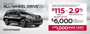 nissan pathfinder specials awd sales event banner january