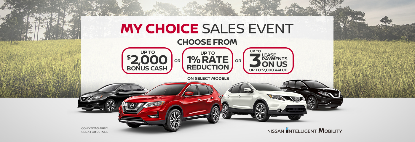 greg vann nissan my choice sales event march 2019 banner