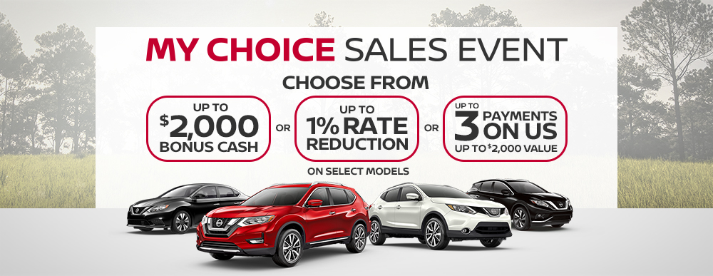 greg vann nissan my choice sales event april 2019 banner