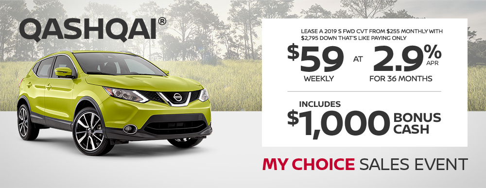 greg vann nissan specials qashqai my choice april sales event banner
