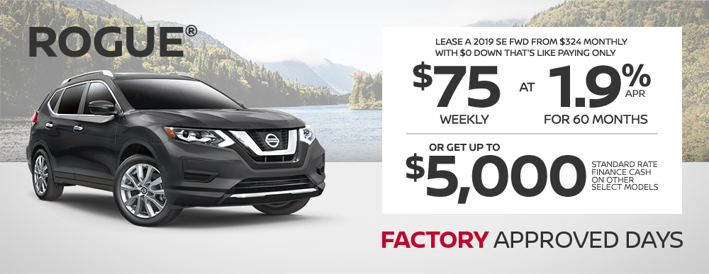 greg vann nissan specials rogue factory approved days june sales event banner