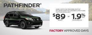 greg vann nissan specials pathfinder factory approved days june sales event banner