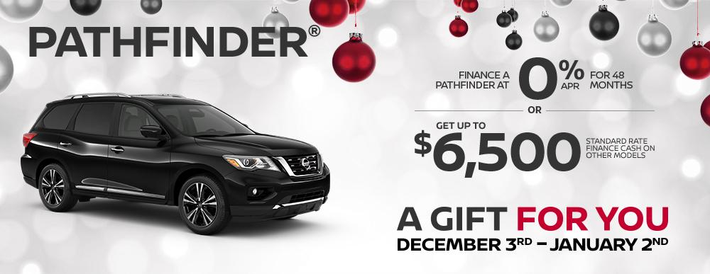 greg vann nissan specials pathfinder a gift for you december sales event banner