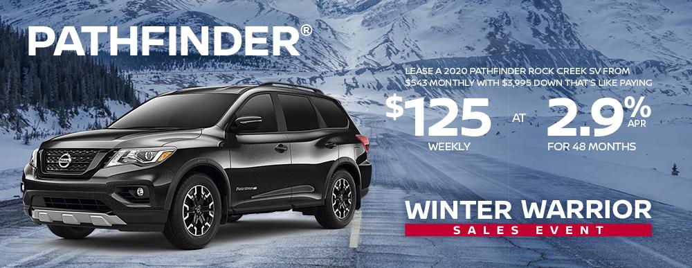 greg vann nissan specials pathfinder winter warrior january sales event banner